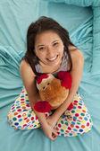 Pajamas bear top view happy — Stock Photo