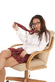 School girl chair tie — Stock Photo
