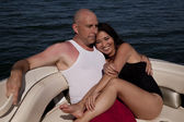 Sit on boat bow smile couple — Stock Photo