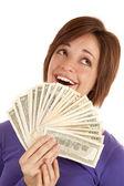 Yeşil para gülümseme — Stok fotoğraf