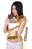 Vorsicht, die Schokolade essen — Stockfoto