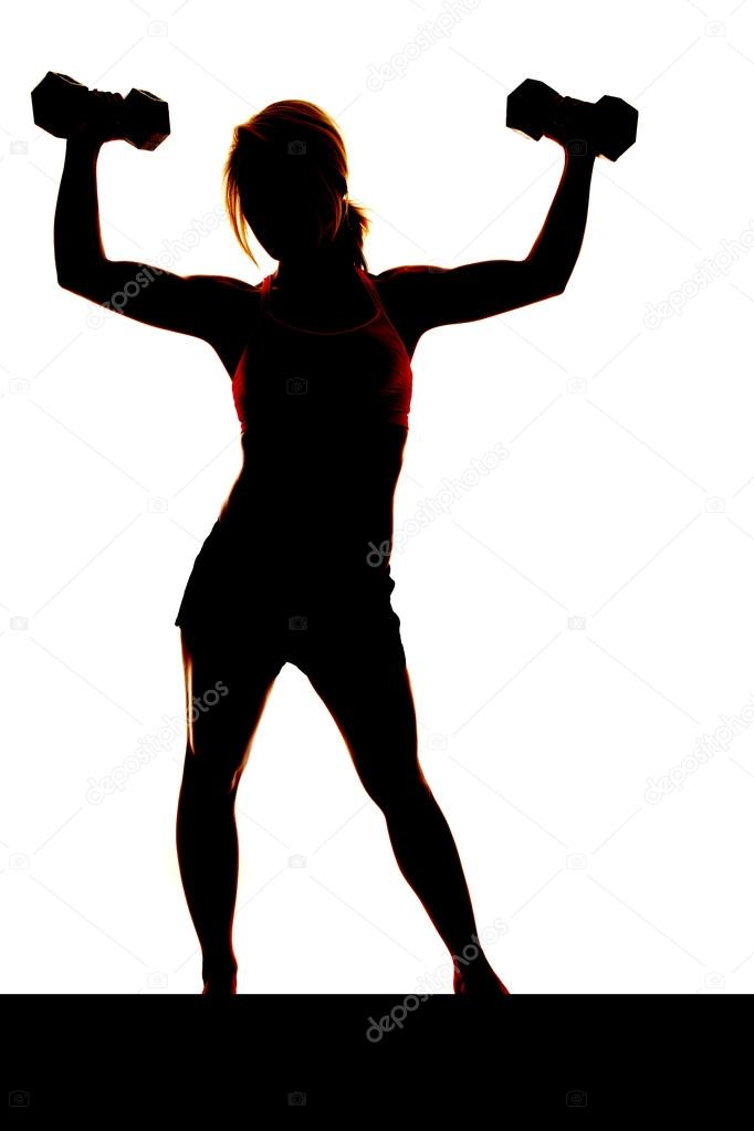 Woman weights silhouette arms up — Stock Photo ...