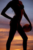 Silhouette woman body and volleyball — Stock Photo