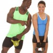 Man and woman fitness him pointing — Stock Photo