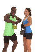 Man and woman fitness lifting — Stock Photo