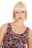 Woman paisley dress stand close smile — Stock Photo