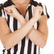 Referee body arms crossed — Stock Photo