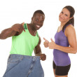 Man big pants woman weight loss — Stock Photo #30114599
