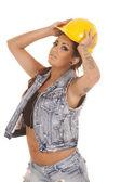 Sombrero de mujer tatuajes construcción en — Foto de Stock