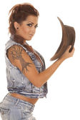 Woman tattoos cowgirl side hat hand close — Stock Photo