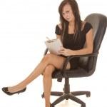 Woman short black dress sit notepad — Stock Photo #30270819