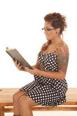 Woman tattoos read sit side — Stock Photo