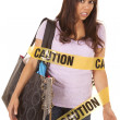 Caution shopper wrapped scared — Stock Photo #30460547