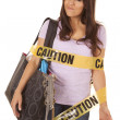 Foto de Stock  : Caution shopper wrapped smirk