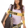 Stock fotografie: Caution shopper wrapped smirk