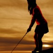 Woman golf pink shirt hold silhouette aim — Stock Photo #30460677
