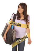 Caution shopper wrapped smirk — Stock Photo