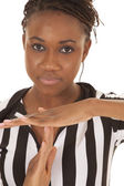 Referee woman very close time out — Stock Photo
