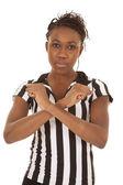 Mujer árbitro bloqueo de señal — Foto de Stock