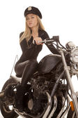 Woman cop motorcycle ride look — Stock Photo