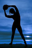 Silhouette woman volleyball arch left — Stock Photo