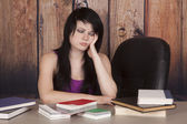 Woman office books thinking — Stock Photo