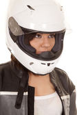 Woman biker helmet look side — Stock fotografie