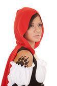 Woman red riding hood claw tattoo — Stock Photo