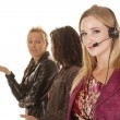 Business woman one with headset — Stock Photo