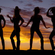 Cowgirls silhouette  — Stock Photo