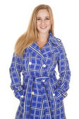 Blue and white jacket smile hands pockets — Stock Photo
