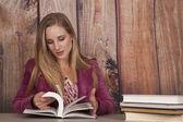 Woman jacket office books read — Foto Stock