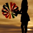 Beach ball silhouette look away — Stock Photo