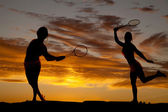 Woman silhouette tennis — Stockfoto