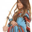 Native American Woman bow blanket close — Stock Photo