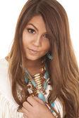 Native american white top close smile — Photo