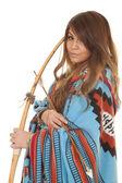 Native American Woman bow blanket close — Photo
