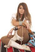 Woman Native American sit cross legs — Photo
