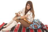 Woman Native American sit side look — Photo
