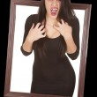 Vampire come out window hands chest — Stock Photo #34836457