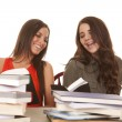 Two women reading and laughing — Stock Photo