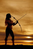 Silhouette Native with a bow — Stock Photo