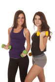 Two women fitness weights curling — Stock Photo