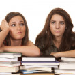 Two women books funny face — Stock Photo #35010911