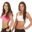 Two women fitness upper body sports bras — Stock Photo #35020955