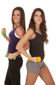 Two women fitness weights backs together — Stock Photo