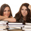 Two women books one smile — Stock Photo