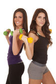 Two women fitness weights back to back — Stock Photo