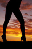 Silhouette woman legs bikini heels side — Stockfoto