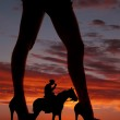 Silhouette woman legs face side cowboy horse — Stock Photo